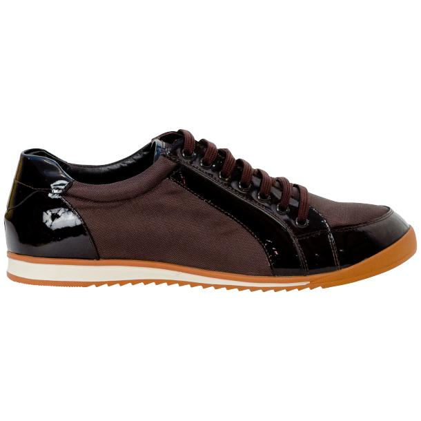 Paola Brown Patent Leather Low Top Sneakers  thumb #4