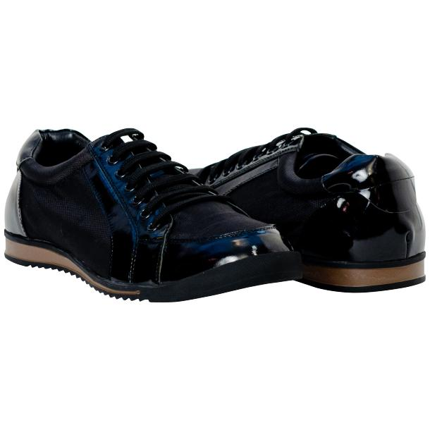 Paolo Black Patent Leather Low Top Sneakers  full-size #1