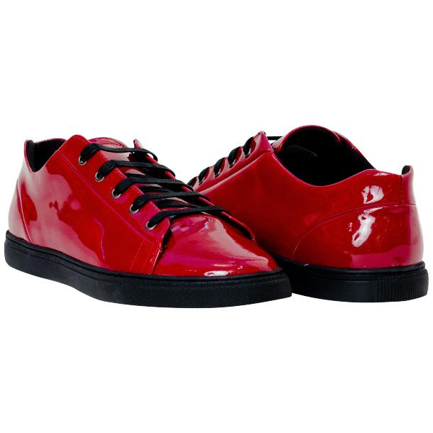 Piper Fire Red Patent Leather Low Top Sneakers full-size #1