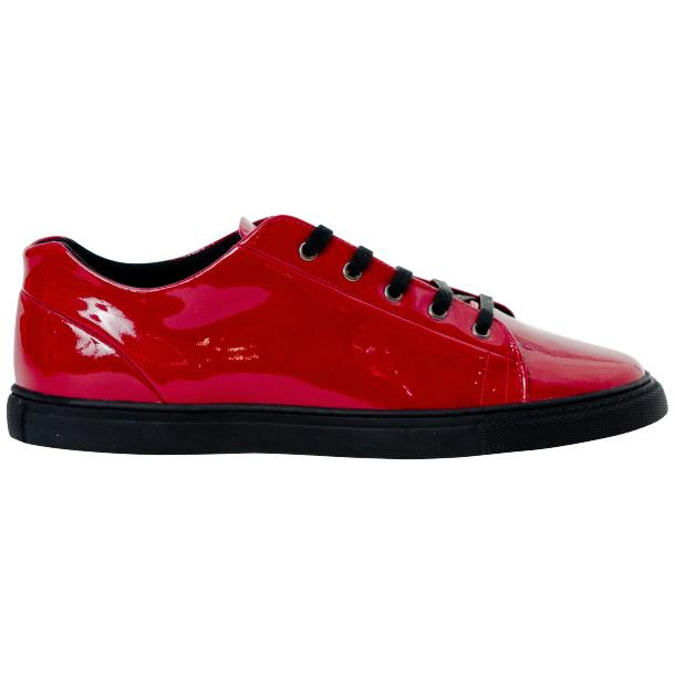 Piper Fire Red Patent Leather Low Top Sneakers thumb #4