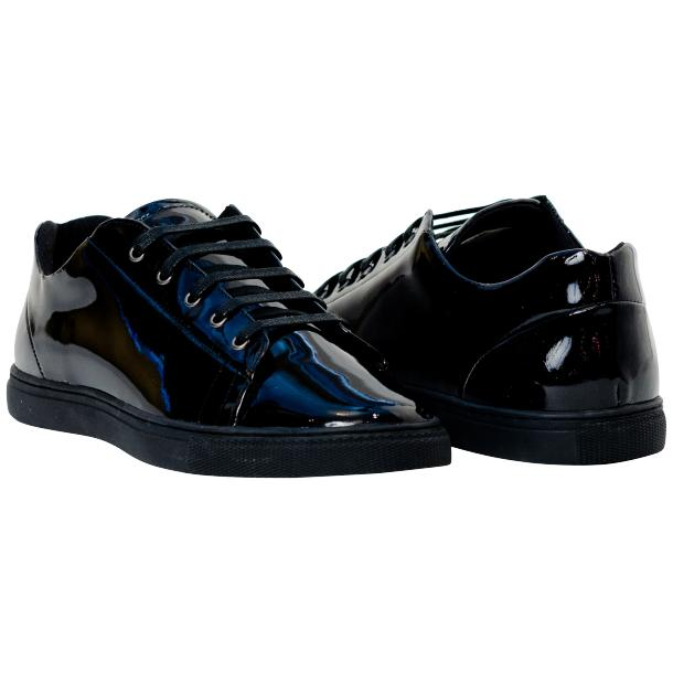 Pacino Black Patent Leather Low Top Sneakers  full-size #1