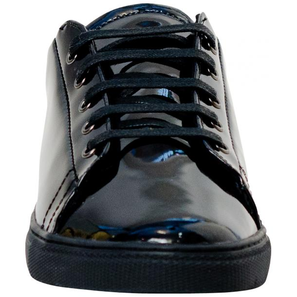 Pacino Black Patent Leather Low Top Sneakers  full-size #3