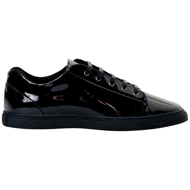 Pacino Black Patent Leather Low Top Sneakers  full-size #4