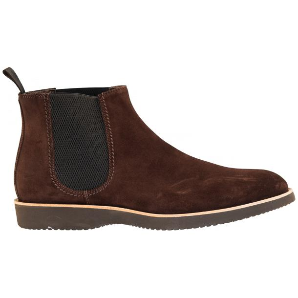 Rick Chocolate Brown Suede Chelsea Pull on Boots  thumb #4