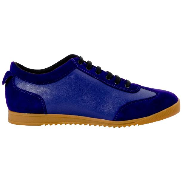 Gia Royal Blue Two Tone Nappa Leather Low Top Sneakers  thumb #4