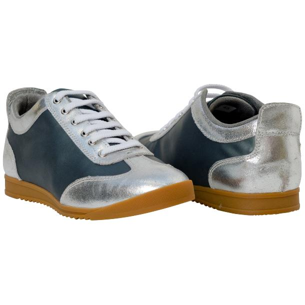 Gia Two Tone Silver Nappa Leather Low Top Sneakers full-size #1