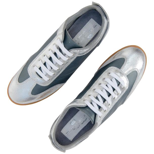 Gia Two Tone Silver Nappa Leather Low Top Sneakers thumb #2