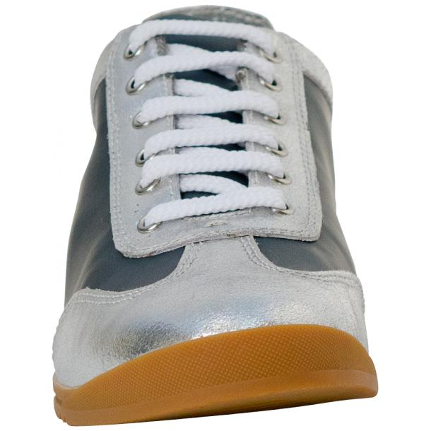 Gia Two Tone Silver Nappa Leather Low Top Sneakers thumb #3