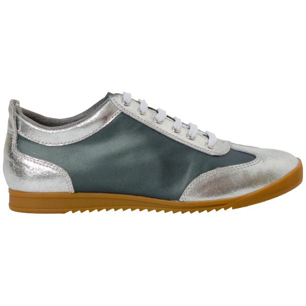 Gia Two Tone Silver Nappa Leather Low Top Sneakers thumb #4