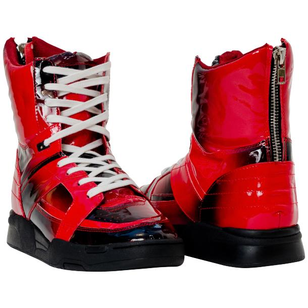 Roxanne Crimson Red Patent Leather High Top Sneakers thumb #1