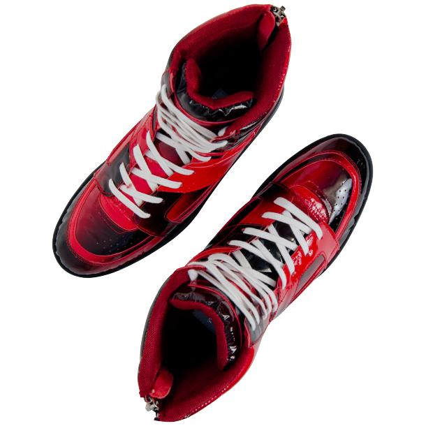 Roxanne Crimson Red Patent Leather High Top Sneakers full-size #2