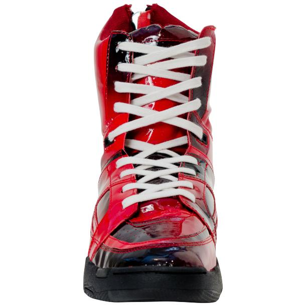 Roxanne Crimson Red Patent Leather High Top Sneakers full-size #3
