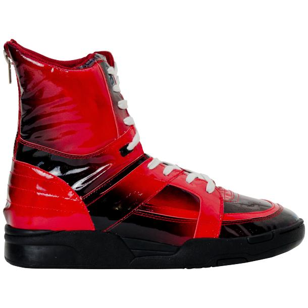 Roxanne Crimson Red Patent Leather High Top Sneakers full-size #4