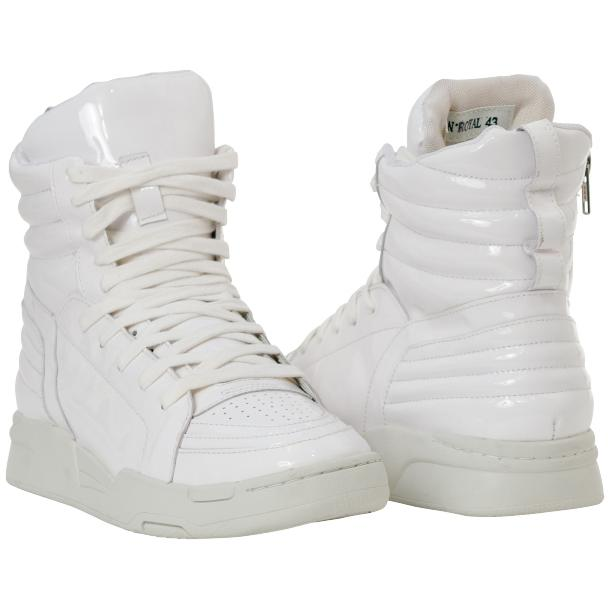 Breakin' Royal White Patent Leather High Top Sneakers thumb #1