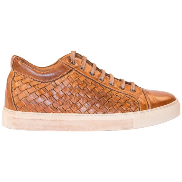 Kai Dip Dyed Brown Woven Low Tops thumb #4