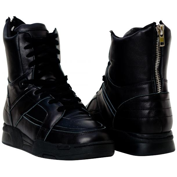 Rockstar Engine Black Nappa Leather High Top Sneakers thumb #1