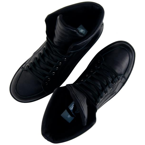 Meredith Matte Black Nappa Leather High Top Sneakers thumb #6
