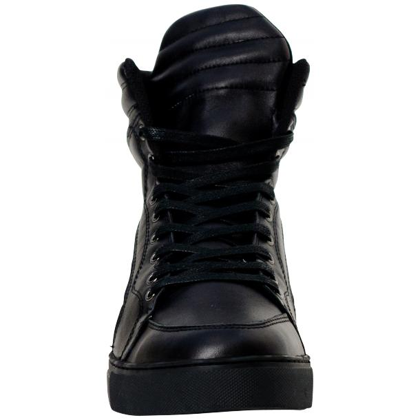 Meredith Matte Black Nappa Leather High Top Sneakers thumb #2