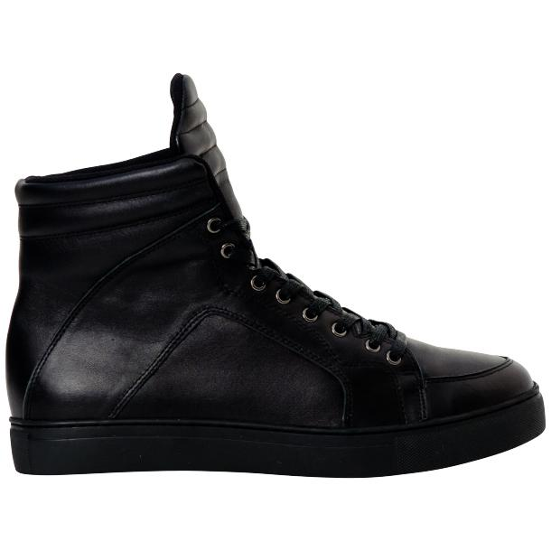 Meredith Matte Black Nappa Leather High Top Sneakers thumb #4
