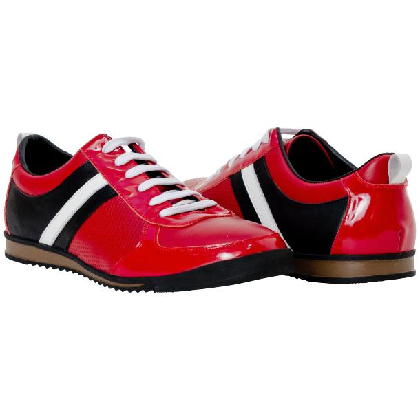 Crystal Red Two Tone Nappa and Patent Leather Low Top Sneakers full-size #1