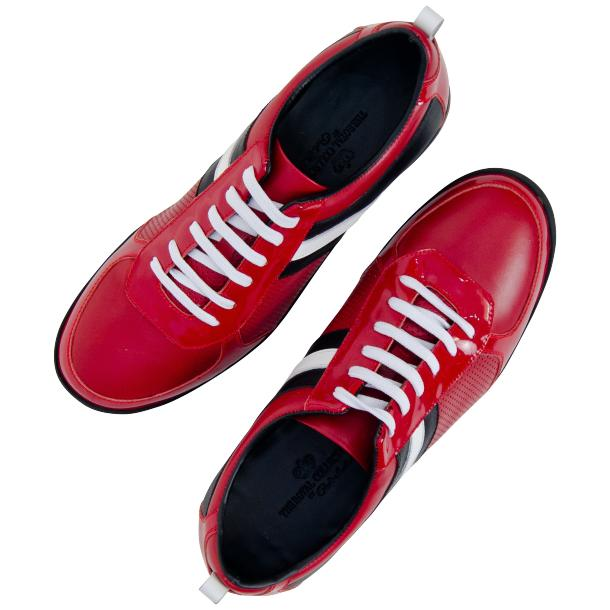 Crystal Red Two Tone Nappa and Patent Leather Low Top Sneakers thumb #2