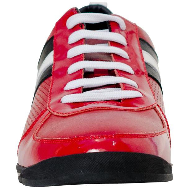 Crystal Red Two Tone Nappa and Patent Leather Low Top Sneakers thumb #3