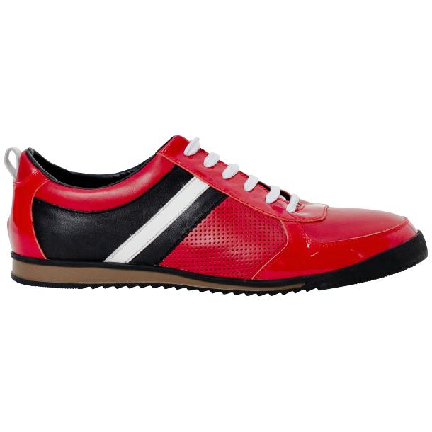 Coco Red Two Tone Nappa Leather Low Top Sneakers thumb #4