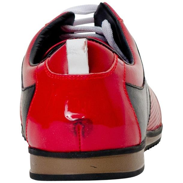 Crystal Red Two Tone Nappa and Patent Leather Low Top Sneakers thumb #5