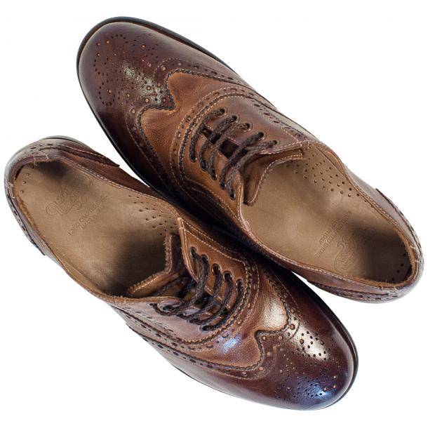 Ashley Dip Dyed Brown Leather Oxford Lace Up Wing Tips thumb #2