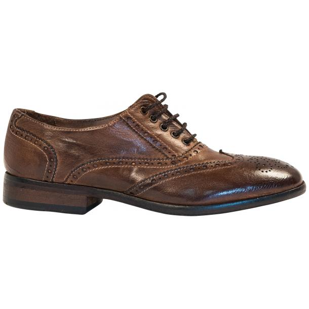 Ashley Dip Dyed Brown Leather Oxford Lace Up Wing Tips thumb #4