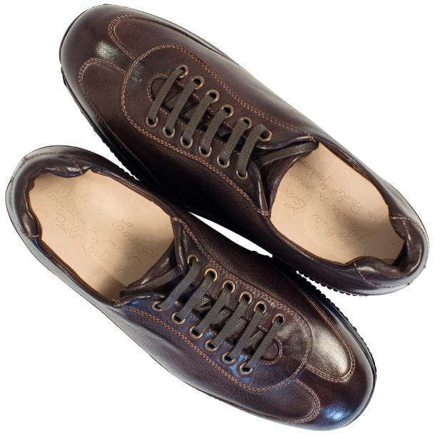 Fredo Dark Brown Nappa Leather Low Top Sneakers  thumb #2