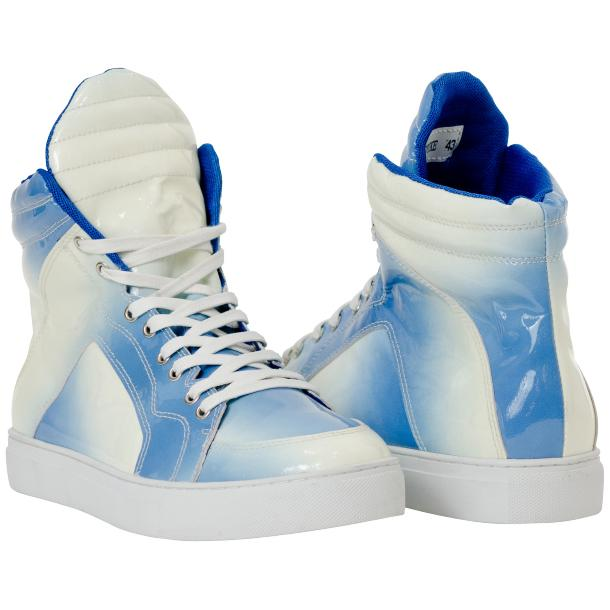 Meredith Sky Blue Patent Leather High Top Sneakers full-size #1