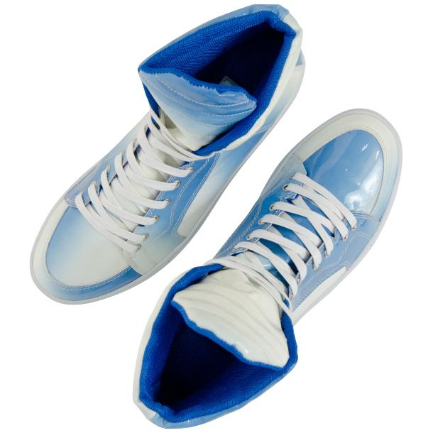 Spike Sky Blue Patent Leather High Top Sneakers full-size #6