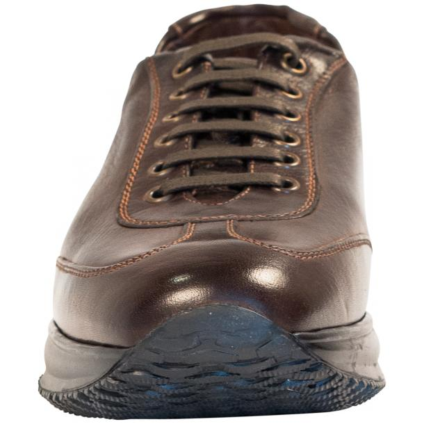 Fredo Dark Brown Nappa Leather Low Top Sneakers  thumb #3