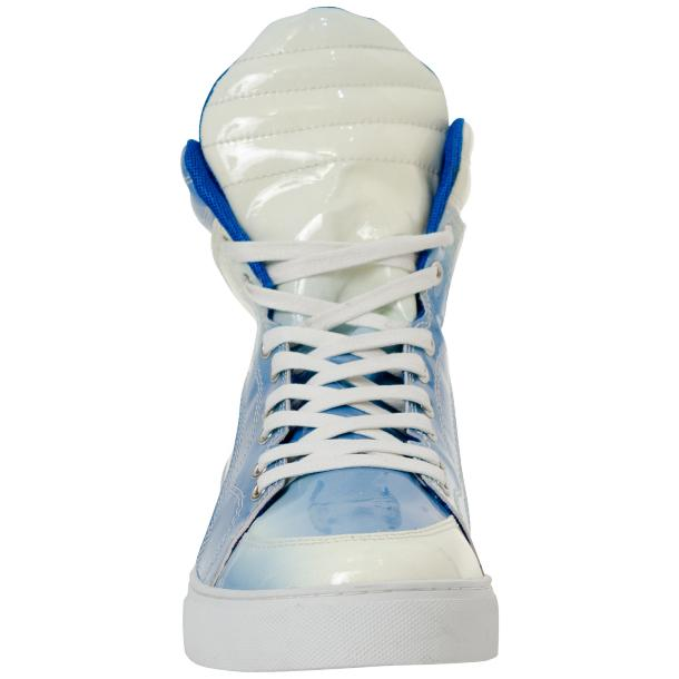 Spike Sky Blue Patent Leather High Top Sneakers full-size #2