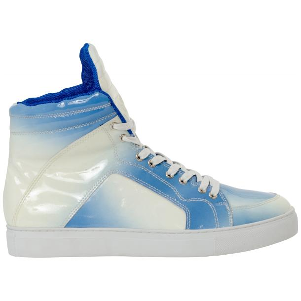 Spike Sky Blue Patent Leather High Top Sneakers thumb #4