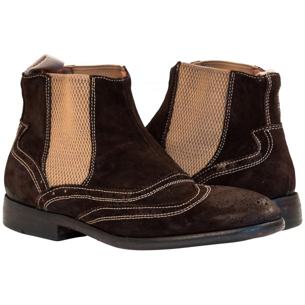 Leila Brown Suede Wing Tip Dip Dyed Chelsea Boot full-size #1