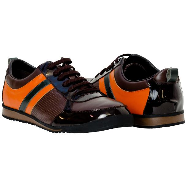 Coco Brown & Orange Two Tone Leather Low Top Sneakers thumb #1