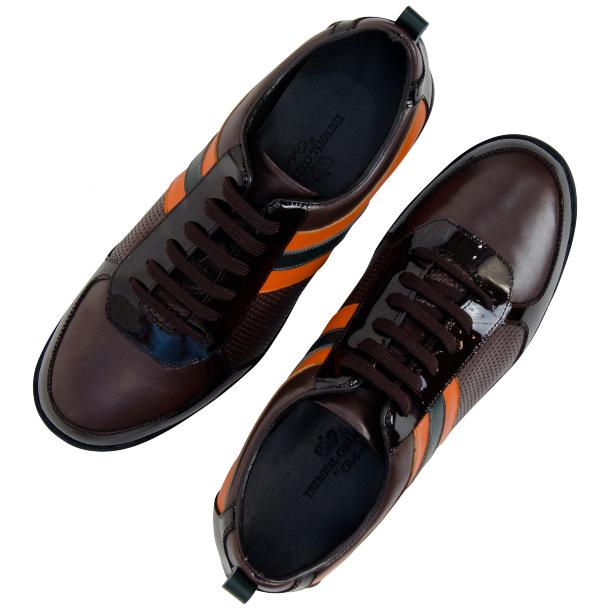 Coco Brown & Orange Two Tone Leather Low Top Sneakers thumb #2