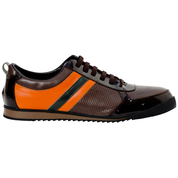 Coco Brown & Orange Two Tone Leather Low Top Sneakers thumb #4