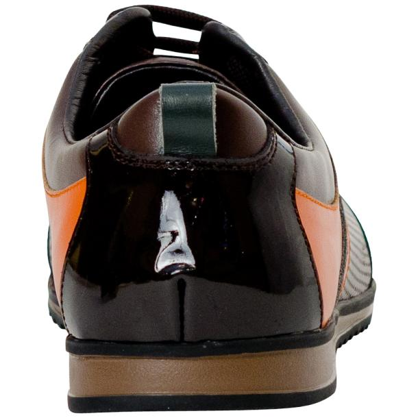 Coco Brown & Orange Two Tone Leather Low Top Sneakers thumb #5