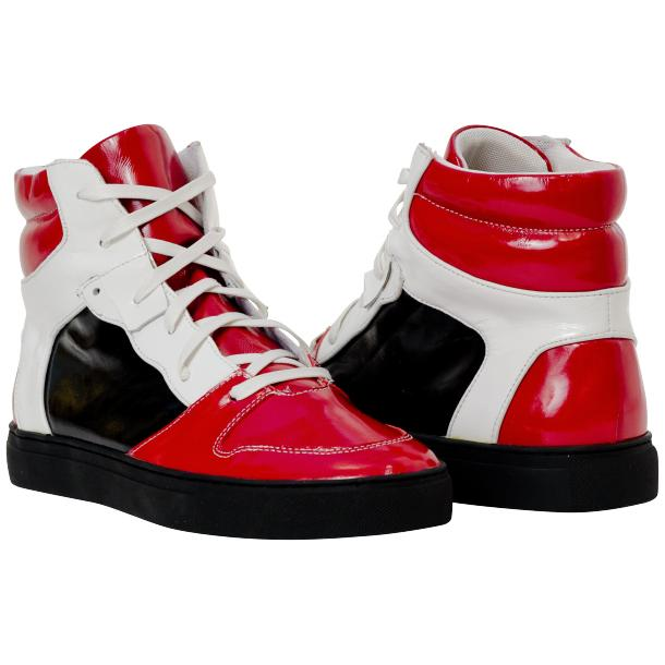 Celine Red Multi Color Patent Leather High Top Sneakers full-size #1