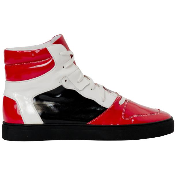 Celine Red Multi Color Patent Leather High Top Sneakers thumb #4
