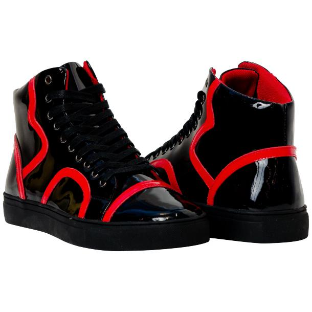 Bogart Black and Red Patent Leather High Top Sneakers full-size #1