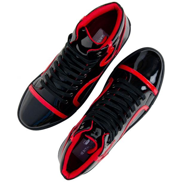 Bogart Black and Red Patent Leather High Top Sneakers thumb #2