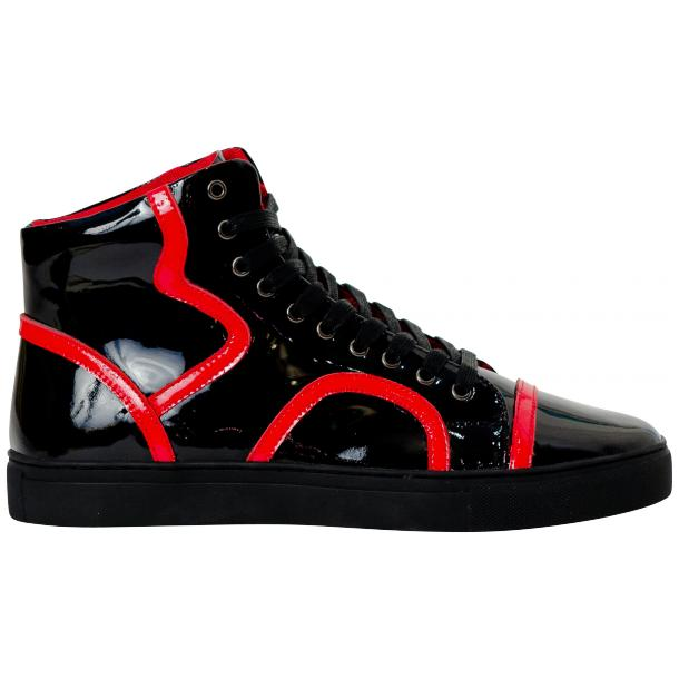 Bogart Black and Red Patent Leather High Top Sneakers thumb #4