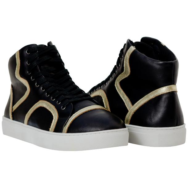Bogart Black and Gold Design Leather High Top Sneakers full-size #1