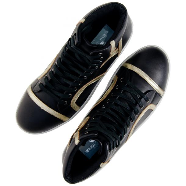 Bogart Black and Gold Design Leather High Top Sneakers thumb #2