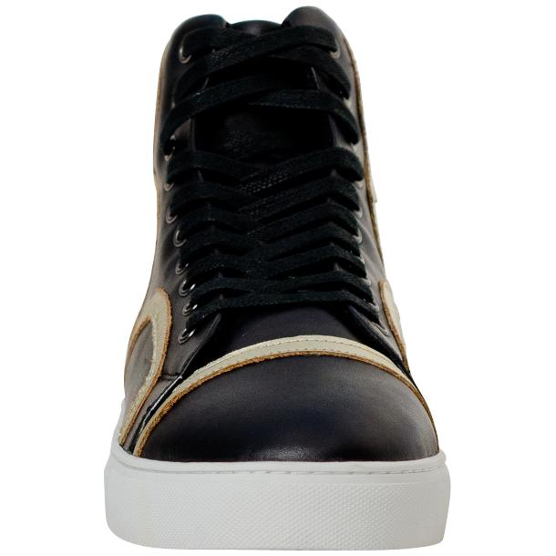 Bogart Black and Gold Design Leather High Top Sneakers thumb #3