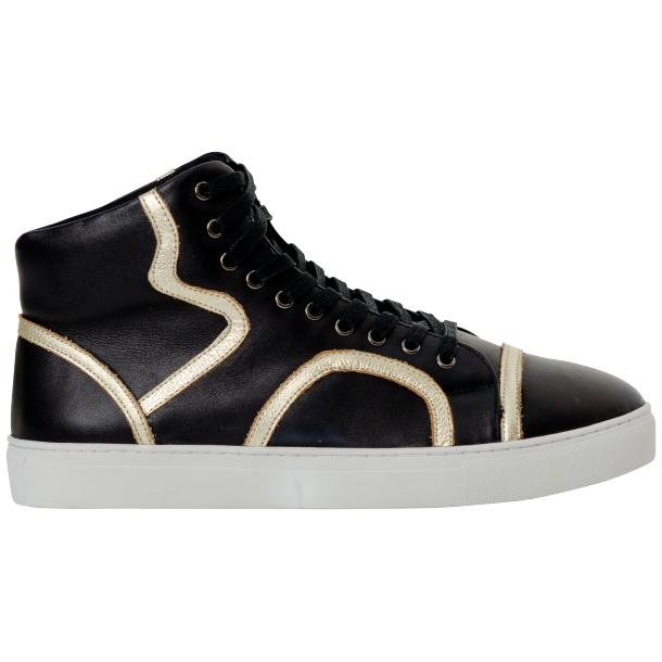 Bogart Black and Gold Design Leather High Top Sneakers thumb #4